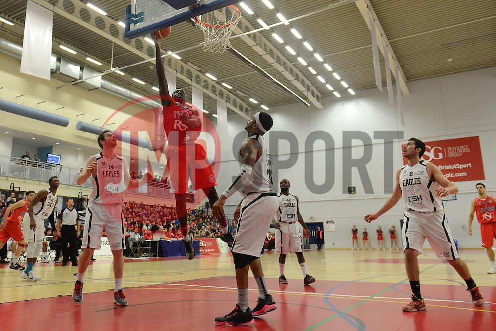 Daniel Edozie of Bristol Flyers challenges for the ball - Mandatory byline: Dougie Allward/JMP - 06/02/2016 - FOOTBALL - SGS Wise Campus - Bristol, England - Bristol Flyers v Newcastle Eagles - British Basketball League