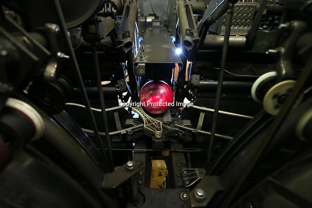 A bowling ball makes its way into the excelerator, which will shoot it back to the front to the bowler.