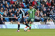 Lyle Taylor forward for AFC Wimbledon (33) during the Sky Bet League 2 match between Wycombe Wanderers and AFC Wimbledon at Adams Park, High Wycombe, England on 2 April 2016. Photo by Stuart Butcher.