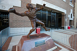 October 2, 2010; Chestnut Hill, MA, USA;  Statue commemorating the game winning hail mary pass by Doug Flutie (not pictured) against the Miami Hurricanes outside Alumni Stadium before the game between the Boston College Eagles and the Notre Dame Fighting Irish.