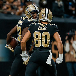 Sep 16, 2018; New Orleans, LA, USA; New Orleans Saints wide receiver Michael Thomas (13) and wide receiver Austin Carr (80) celebrate after a touchdown against the Cleveland Browns during the second half of a game at the Mercedes-Benz Superdome. The Saints defeated the Browns 21-18. Mandatory Credit: Derick E. Hingle-USA TODAY Sports