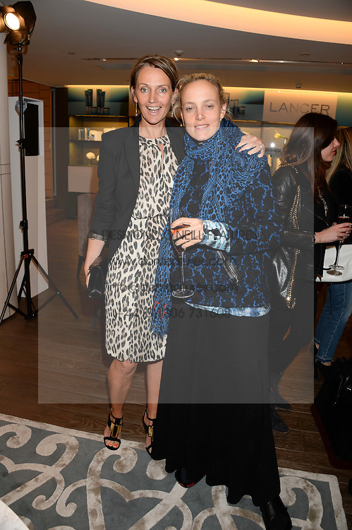 Left to right, SAFFRON ALDRIDGE and BAY GARNETT at a reception to launch the range of Dr Lancer beauty products held at The Penthouse, Harrods, Knightsbridge, London on 16th September 2013.