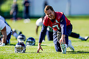 Blaine Gabbert QB (7) jokes during warm ups during the Tennessee Titans pre-match press conference at Syon House, Brentford, United Kingdom on 19 October 2018.