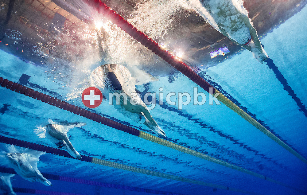 (R-L) Mateusz Sawrymowicz of Poland, Sun Yang of Chinaand Gregorio Paltrinieri of Italy in the men's 1500m Freestyle Heats during the 15th FINA World Aquatics Championships at the Palau Sant Jordi in Barcelona, Spain, Saturday, Aug. 3, 2013. (Photo by Patrick B. Kraemer / MAGICPBK)