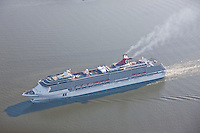 """Aerial photo of the Carnival Cruise Ship """"Pride"""" on way to Masryland Cruise Terminal"""