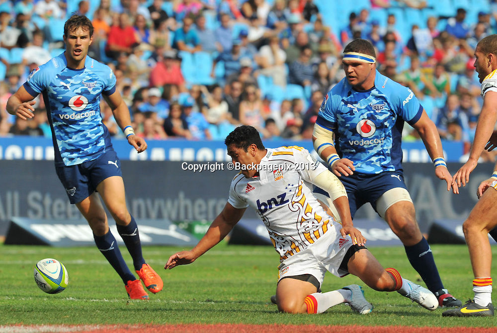 Mals Muliaina of the Chiefs during the Super Rugby match between the Bulls and the Chiefs at Loftus Stadium in Pretoria on the 29 March 2014 ©Samuel Shivambu/BackpagePix