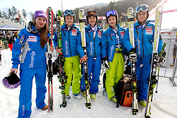 Tina Maze, Ana Drev, Tina Robnik, Mateja Robnik and Vanja Brodnik after the race was cancelled during 1st Run of 47th Golden Fox Audi Alpine FIS Ski World Cup Ladies Giant Slalom, on January 15, 2011 in Pohorje, Maribor, Slovenia. Race was cancelled after 25th competitor. (Photo By Vid Ponikvar / Sportida.com)