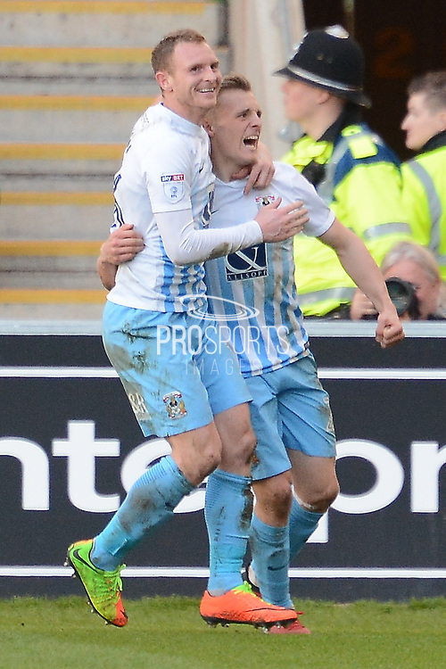 Coventry City striker George Thomas (27) scores a goal 1-0 and celebrates during the EFL Sky Bet League 1 match between Coventry City and Bristol Rovers at the Ricoh Arena, Coventry, England on 25 March 2017. Photo by Alan Franklin.