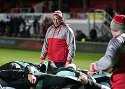 Ulster's Head Coach Jono Gibbes oversees a scrum during the pre match warm up<br /> <br /> Photographer Simon King/Replay Images<br /> <br /> Guinness Pro14 Round 10 - Dragons v Ulster - Friday 1st December 2017 - Rodney Parade - Newport<br /> <br /> World Copyright © 2017 Replay Images. All rights reserved. info@replayimages.co.uk - www.replayimages.co.uk