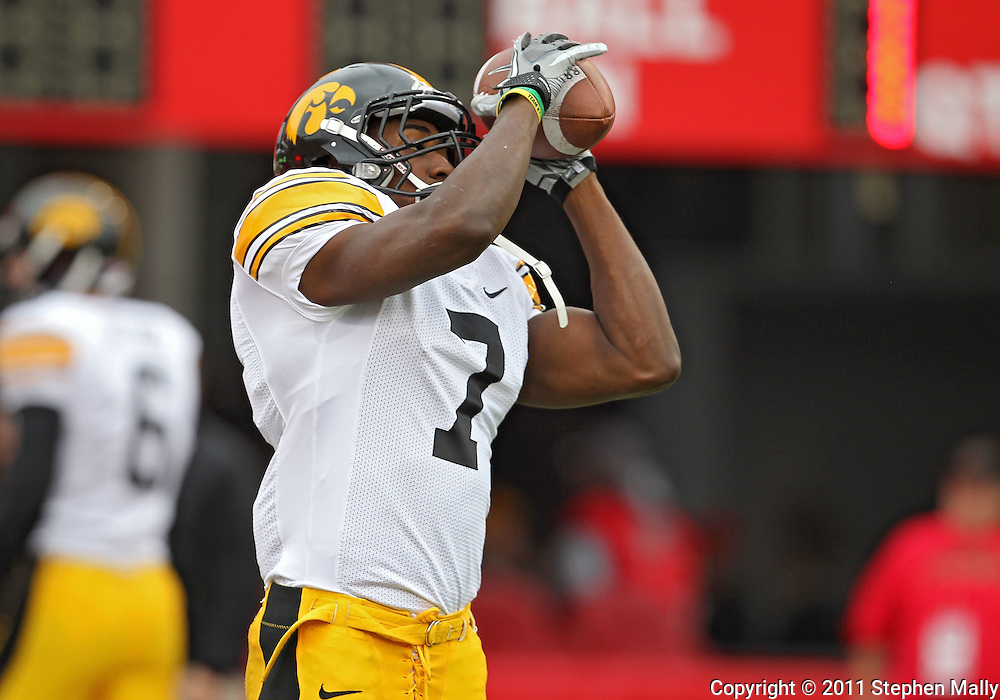 November 25, 2011: Iowa Hawkeyes wide receiver Marvin McNutt (7) pulls in a ball during warmups before the start of the NCAA football game between the Iowa Hawkeyes and the Nebraska Cornhuskers at Memorial Stadium in Lincoln, Nebraska on Friday, November 25, 2011. Nebraska defeated Iowa 20-7.