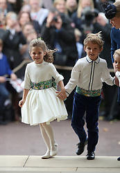 The bridesmaids and page boys arrive for the wedding of Princess Eugenie to Jack Brooksbank at St George's Chapel in Windsor Castle.