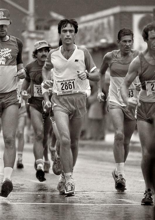 Runners, New York City Marathon. Sim and a half mile mark. 1983