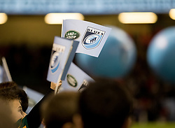 A general view of Principality Stadium, blues fans wave flags<br /> <br /> Photographer Simon King/Replay Images<br /> <br /> Guinness PRO14 Round 21 - Cardiff Blues v Ospreys - Saturday 28th April 2018 - Principality Stadium - Cardiff<br /> <br /> World Copyright © Replay Images . All rights reserved. info@replayimages.co.uk - http://replayimages.co.uk