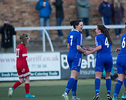 Kayleigh Brough is congraulated by Erin Cattanach after scoring the second - Forfar Farmington v Jeanfield Girls in SWPL2 at Station Park, Forfar<br /> <br />  - © David Young - www.davidyoungphoto.co.uk - email: davidyoungphoto@gmail.com