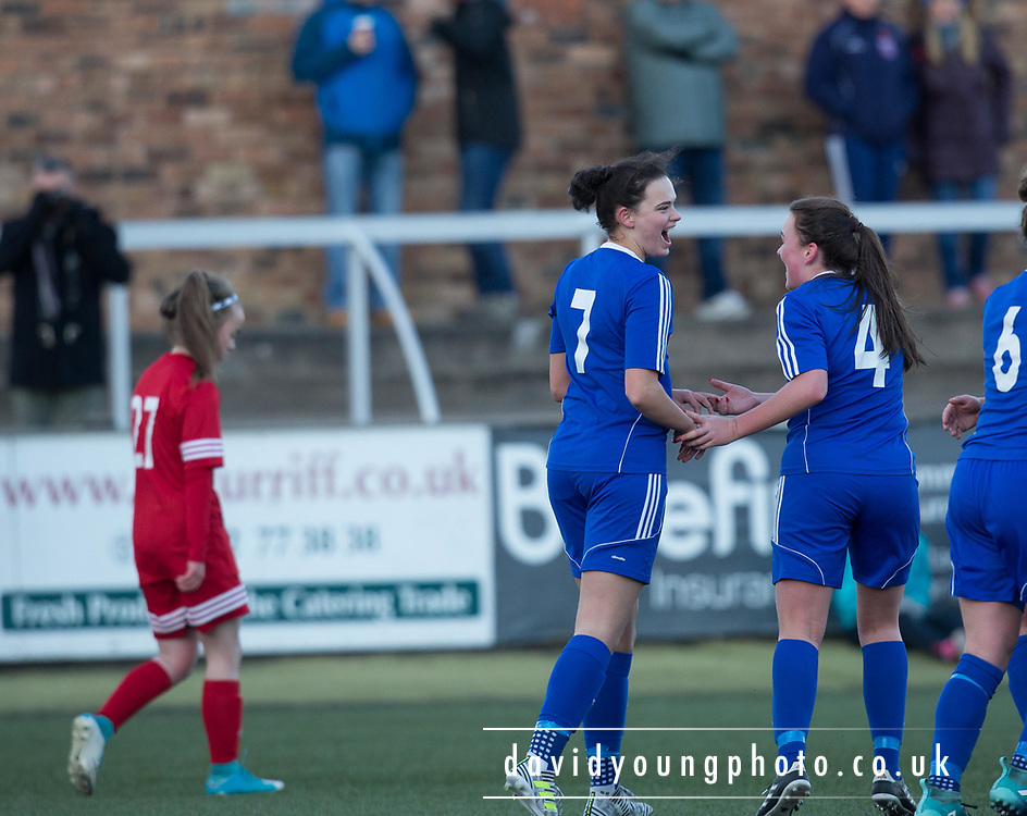 Kayleigh Brough is congraulated by Erin Cattanach after scoring the second - Forfar Farmington v Jeanfield Girls in SWPL2 at Station Park, Forfar<br /> <br />  - &copy; David Young - www.davidyoungphoto.co.uk - email: davidyoungphoto@gmail.com