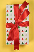 gift wrapped present with a red ribbon