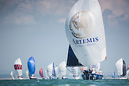 Image licensed to Lloyd Images <br /> Aberdeen Asset Management Cowes Week 2015. Day 1 of racing in the Solent. Picture shows the Artemis Figaro yacht &quot;Chatham&quot; skippered by Sam Matson leading his class downwind after the start today <br /> Credit: Lloyd Images