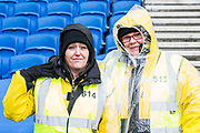 Two of the Stewards aead of the Premier League match between Brighton and Hove Albion and Crystal Palace at the American Express Community Stadium, Brighton and Hove, England on 29 February 2020.