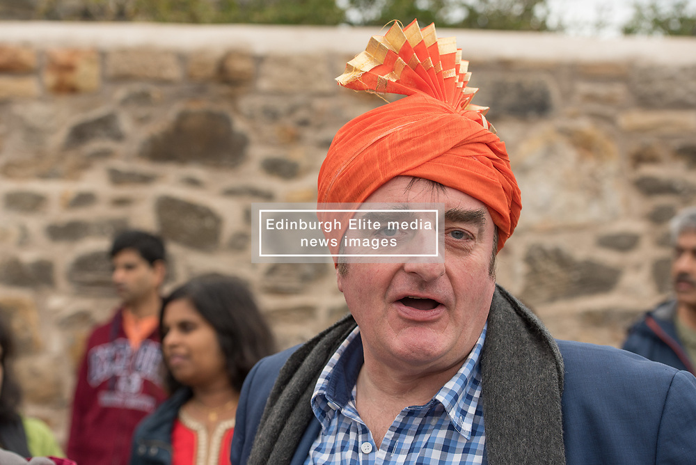 The Scottish Ganesh Festival took to the streets of Portobello in a colourful procession that made it's way down to the sea from the Town Hall. The procession was joined by local MP Tommy Shepphard and Edinburgh councillor and former lord provost Donald Wilson. Pictures: Tommy Sheppard MP.<br /> © Jon Davey/ EEm