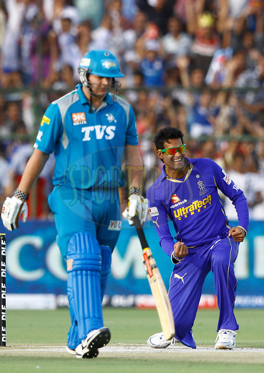 Rajasthan Royals Ajit Chandila celebrates the wicket of Pune Warriors player Jesse Ryder during match 60 of the the Indian Premier League ( IPL) 2012  between The Rajasthan Royals and the Pune Warriors India  held at the Sawai Mansingh Stadium in Jaipur on the 13th May2012..Photo by Pankaj Nangia/IPL/SPORTZPICS