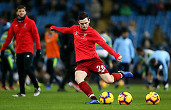 Liverpool's Andrew Robertson during warm-up before the Premier League match at the Etihad Stadium, Manchester.