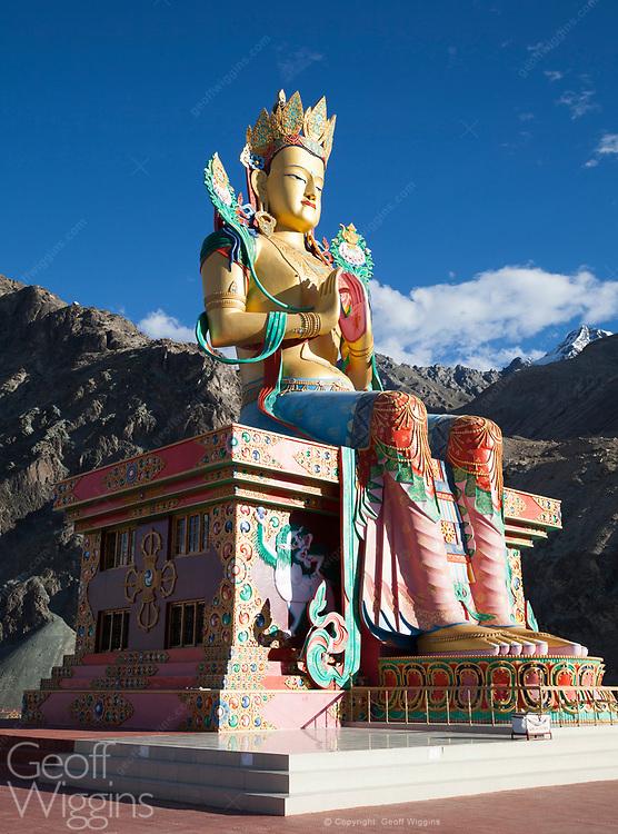 35 meter high statue of Maitreya Buddha overlooking the Nubra valley at Diskit Monastery, Ladakh, India