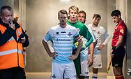 FC Helsingørs spillere, anført af Nikolaj S. Hansen, klar i spillertunnellen før kampen i 2. Division mellem FC Helsingør og Holbæk B&I den 6. september 2019 på Helsingør Ny Stadion (Foto: Claus Birch).