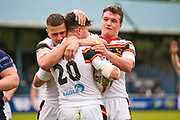 Bradford Bulls second row James Bentley (20) powers through to score a try and celebrates to make the score  16-26 during the Kingstone Press Championship match between Swinton Lions and Bradford Bulls at the Willows, Salford, United Kingdom on 20 August 2017. Photo by Simon Davies.
