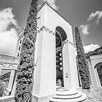 Wrigley Memorial black and white picture. The Wrigley Memorial is on Catalina Island in Avalon California. The memorial honors the memory of William Wrigley Jr. founder of the Wrigley gum company