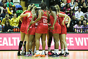 England Women huddle during the Netball World Cup 2019 Preparation match between England Women and Uganda at Copper Box Arena, Queen Elizabeth Olympic Park, United Kingdom on 30 November 2018.
