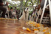 Wedding ceremony at Punta de Vista villas, costa Rica with yellow and white rose petals lining the isle Photographers in Costa Rica, getting married in costa rica, costa rica marriage requirements, costa rica photography, costa rica marriage traditions, wedding cr