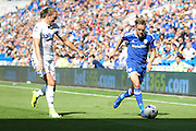 Craig Noone of Cardiff City and Luke Aylin of Leeds United during the EFL Sky Bet Championship match between Cardiff City and Leeds United at the Cardiff City Stadium, Cardiff, Wales on 17 September 2016. Photo by Andrew Lewis.