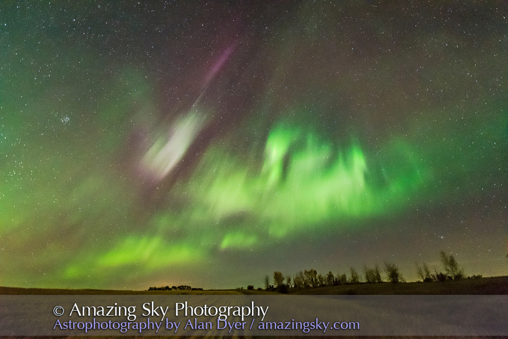 The aurora display of September 27, 2017, from home in southern Alberta, looking south toward a post-sub-storm display of flickering or flaming patches. <br /> <br /> This is a single exposure from 300 in a time-lapse sequence, of 2 seconds at f/1.8 with the Sigma 14mm lens and Nikon D750 at ISO 6400.