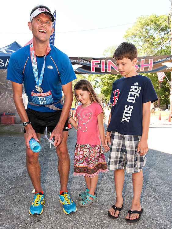 Great Cranberry Island Ultra 50K road race: Leigh Schmitt with family after race