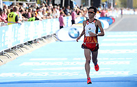 Yuki Sato (JPN) im Zieleinlauf des BMW Berlin Marathon 2018 in Berlin am 16.09.2018