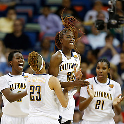 April 7, 2013; New Orleans, LA, USA; California Golden Bears forward Gennifer Brandon (25) celebrates with her teammates after a basket against the Louisville Cardinals during the second half in the semifinals during the 2013 NCAA womens Final Four at the New Orleans Arena. Mandatory Credit: Derick E. Hingle-USA TODAY Sports