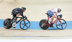 March 2, 2019 - Pruszkow, Poland - New Zealand's Campbell Stewart (L) and Ethan Hayter of Great Britain compete in the Men's Omnium at the UCI Track Cycling World Championships in Pruszkow on March 2, 2019. (Credit Image: © Foto Olimpik/NurPhoto via ZUMA Press)