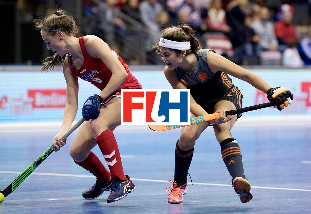 BERLIN - Indoor Hockey World Cup<br /> Women: Netherlands - United States<br /> foto: McDONOUGH Anarose and Noor de Baat.<br /> WORLDSPORTPICS COPYRIGHT FRANK UIJLENBROEK