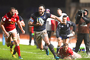 Hong Kong player Connor Hartley finds some space down the sideline in the first half during the Rugby World Cup qualifier between Hong Kong and Canada at Stade Delort, Marseilles, France on 23 November 2018. Picture by Ian  Muir.