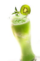 Kiwi smoothie on a white background