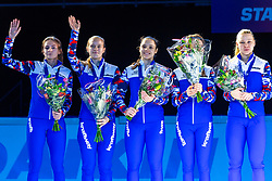 13-01-2019 NED: ISU European Short Track Championships 2019 day 3, Dordrecht<br /> Team Russia pose in the Ladies Relay medal ceremony during the ISU European Short Track Speed Skating Championships