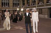 Karl Largerfeld. Chanel Haute Couture. Lycee Buffon. Paris. 10 July 2001. © Copyright Photograph by Dafydd Jones 66 Stockwell Park Rd. London SW9 0DA Tel 020 7733 0108 www.dafjones.com