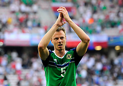 Jonny Evans of Northern Ireland applauds the fans  - Mandatory by-line: Joe Meredith/JMP - 12/06/2016 - FOOTBALL - Stade de Nice - Nice, France - Poland v Northern Ireland - UEFA European Championship Group C