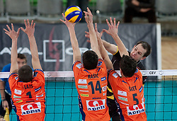 Andrej Flajs, Milan Rasic, Alen Sket of ACH  during volleyball match between ACH Volley LJUBLJANA and  PGE Skra Belchatow (POL) of 2012 CEV Volleyball Champions League, Men, League Round in Pool F, 4th Leg, on December 20, 2011, in Arena Stozice, Ljubljana, Slovenia. (Photo By Grega Valancic / Sportida.com)