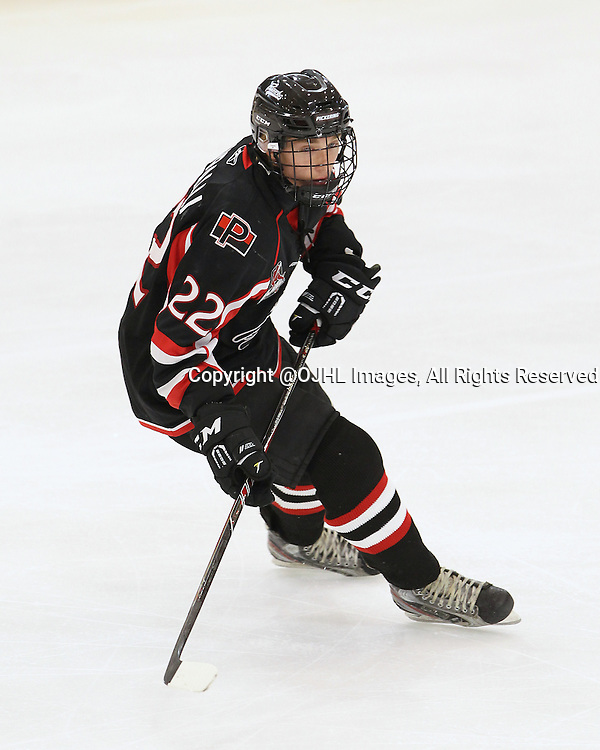 BUFFALO, ON - Sep 22, 2015 : Ontario Junior Hockey League game action between Oakville and Pickering at the Showcase. Owen Scuralli #22 of the Pickering Panthers during the first period.<br /> (Photo by Tim Bates / OJHL Images)