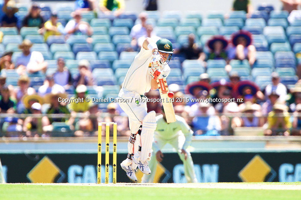 David Warner of Australia defends during Day 1 on the 13th of November 2015. The New Zealand Black Caps tour of Australia, 2nd test at the WACA ground in Perth, 13 - 17th of November 2015.   Photo: Daniel Carson / www.photosport.nz