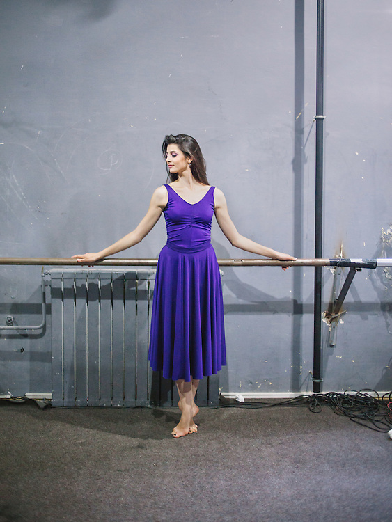 Portrait of Abetare Hyseni, a member of the new generation of the Kosovo Ballet, before a performance at the Kosovo National Theater, Pristina.