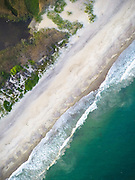 An aerial drone view of Moonstone Beach of Rhode Island.
