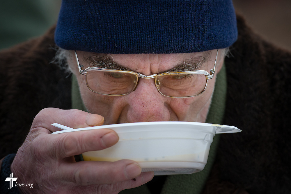 A man sips soup at a Diaconia Center of The Evangelical Lutheran Church of Latvia soup kitchen site on Thursday, Feb. 5, 2015, in Riga, Latvia. LCMS Communications/Erik M. Lunsford