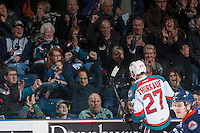 KELOWNA, CANADA - JANUARY 27: Calvin Thurkauf #27 of the Kelowna Rockets celebrates a goal with fans against the Kamloops Blazers on January 27, 2017 at Prospera Place in Kelowna, British Columbia, Canada.  (Photo by Marissa Baecker/Shoot the Breeze)  *** Local Caption ***
